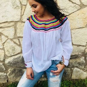 Just in! Mexican Fiesta Blouse Colorful Embroidery